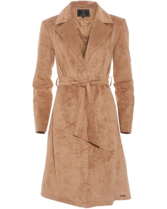 Rino and Pelle Womens Esther Jacket, Sand Faux Suede Belted Coat