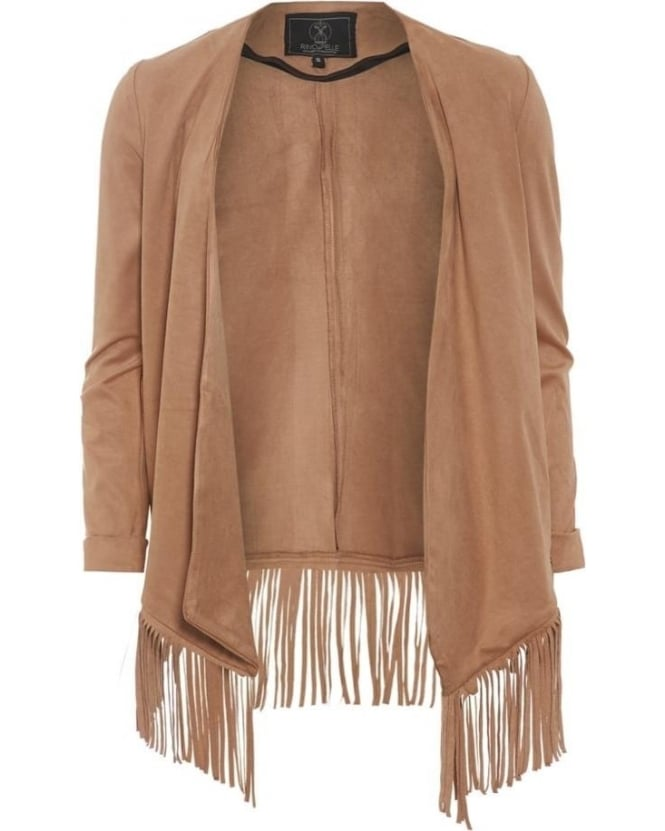 Rino and Pelle Womens Priori Jacket, Sand Faux Suede Fringed Coat