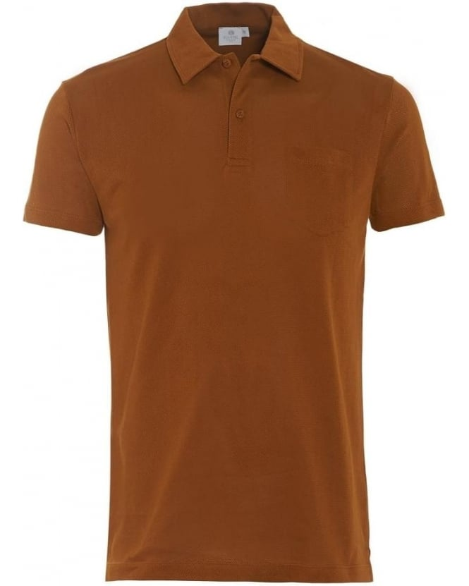 Sunspel Riviera Mens Polo Shirt Willow Brown Cotton Mesh Polo