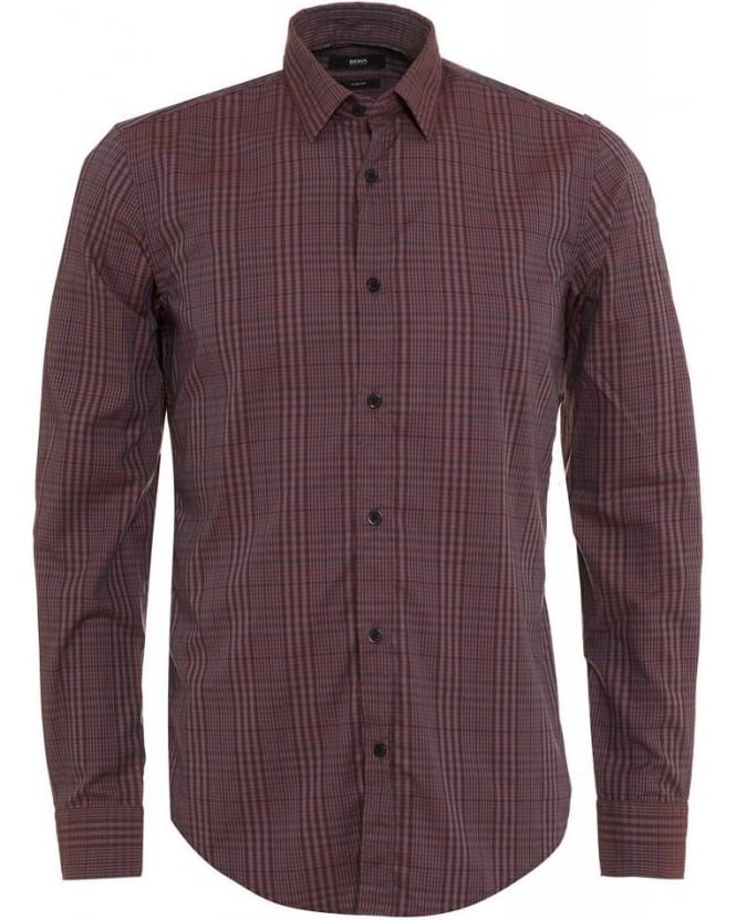 Hugo Boss Black Ronni Dark Red Check Slim Fit Shirt