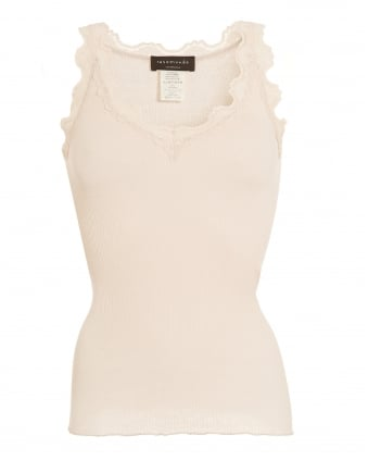 Womens Babetta Top, Soft Powder Lace Trim Vest