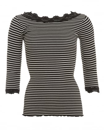 Womens Babette Black Ivory Striped Knitted Lace Top