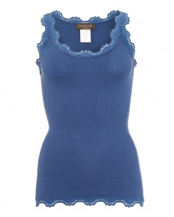 Womens Babette Lace Vest, Blue Steel Long Lace Silk Strap Top