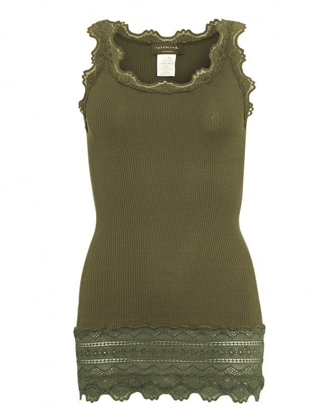 Rosemunde Womens Babette Lace Vest, Olive Green Lace Silk Blend Strap Top