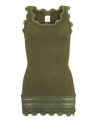 Womens Babette Lace Vest, Olive Green Lace Silk Blend Strap Top