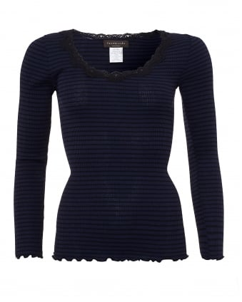 Womens Babette Long Sleeved Navy Black Striped Top