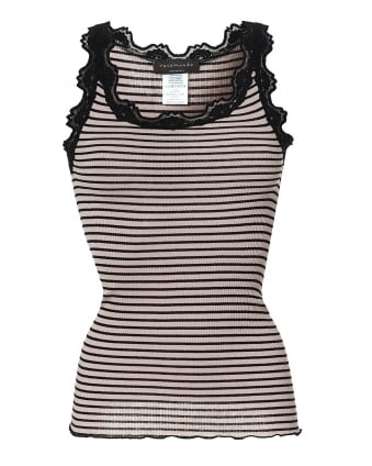 Womens Babette Pink & Black Vest, Striped Lace Cami Top