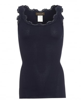 Womens Babette Vest, Neck Lace Navy Blue Vest Top