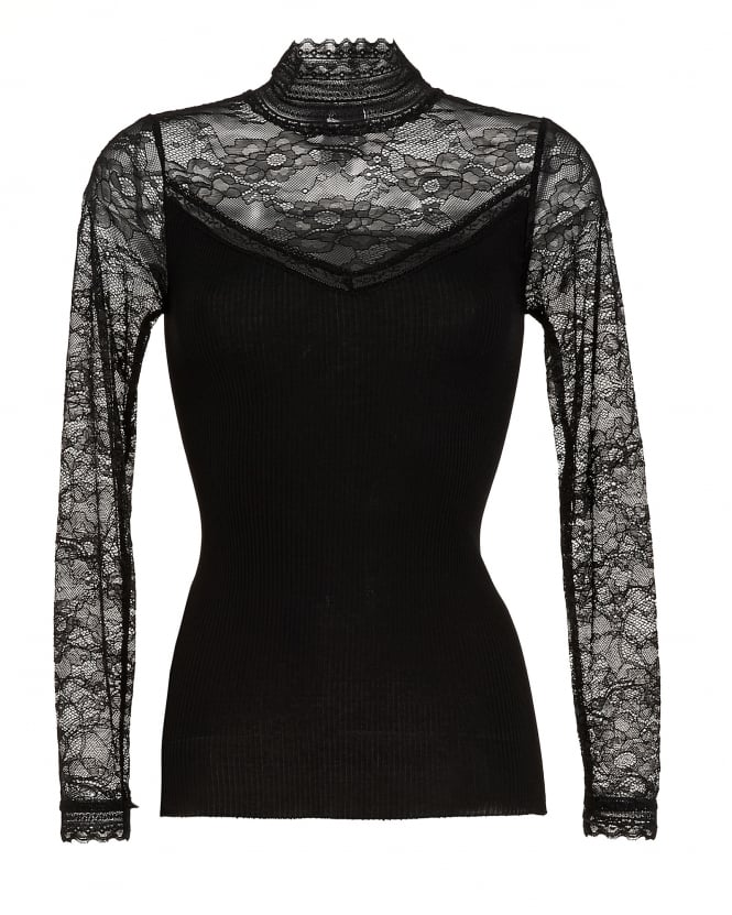 Rosemunde Womens Becka Black Lace High Neck Top