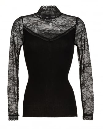 Womens Becka Black Lace High Neck Top