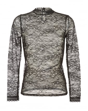 Womens Becka Blouse, Black Lace High Neck Long Sleeve Top