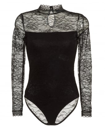 Womens Becka Body, Hi Neck Black Lace Bodysuit