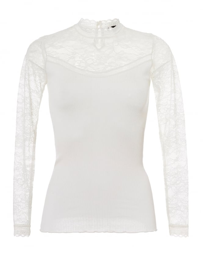 Rosemunde Womens Becka Lace High Neck Long Sleeve Ivory Top