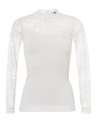 Womens Becka Lace High Neck Long Sleeve Ivory Top