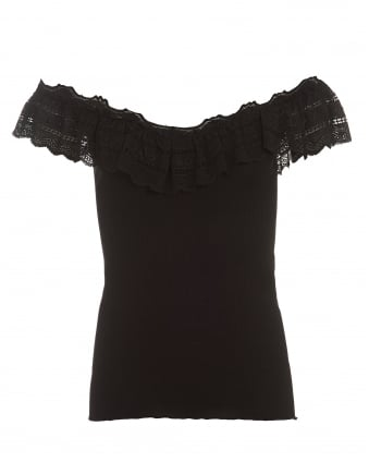 Womens Benita Black Lace Frill Off Shoulder Top