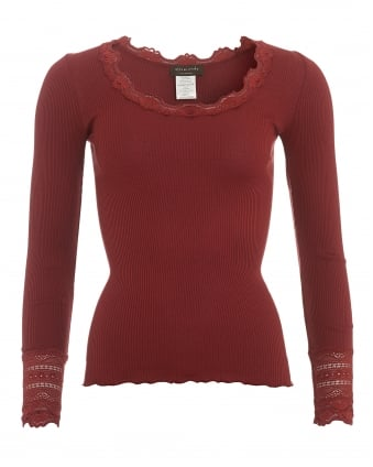 Womens Benita Maroon Burgundy Scoop Neck Lace Top