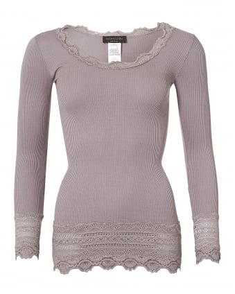 Womens Benita Porpoise Top, Grey Long Sleeve Knitted T-Shirt