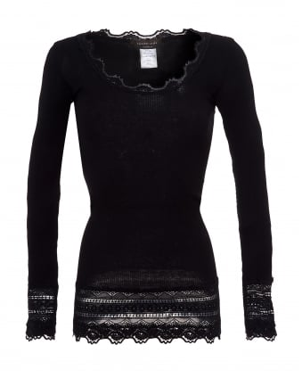 Womens Benita Scoop Neck Wide Lace Hem Black Top