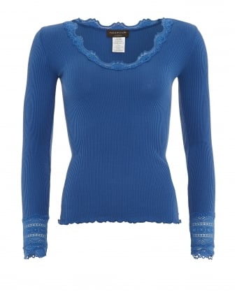 Womens Benita T-Shirt, Cornflower Blue Long Sleeve Vintage Lace Blouse