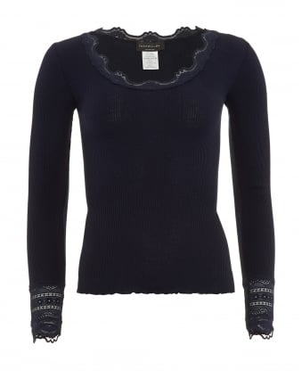 Womens Benita T-Shirt, Navy Blue Long Sleeve Vintage Lace Blouse