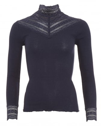 Womens Benita Top, Navy Blue High Neck Lace T-Shirt