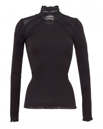 Womens Benita Turtle Neck Lace Detail Raven Top