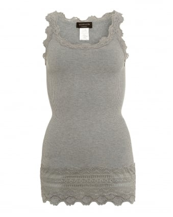 Womens Benita Vest, Deep Hem Light Grey Vest Top