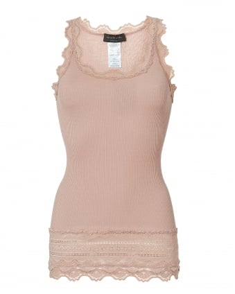 Womens Benita Vest, Long Length Pink Rose Dust Tank Top
