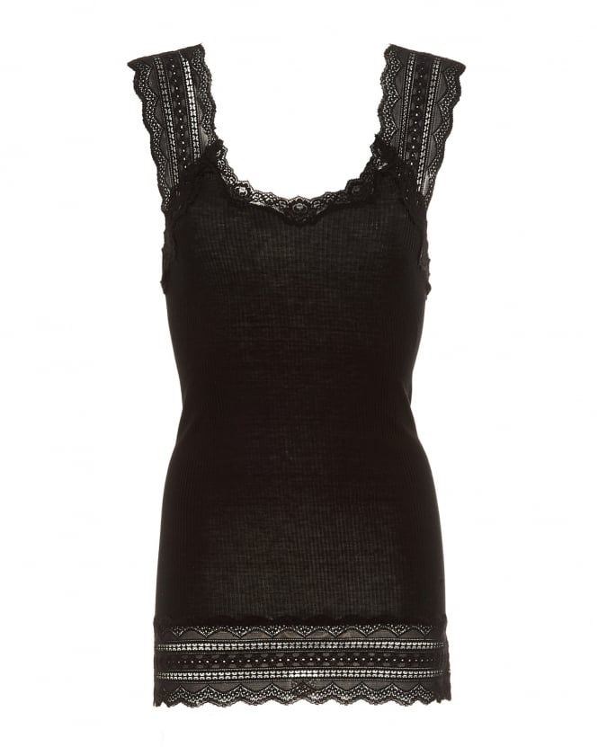 Rosemunde Womens Benta Vest, Black Lace Silk Strap Top