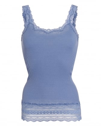 Womens Benta Vest, Blue Stone Lace Silk Strap Top