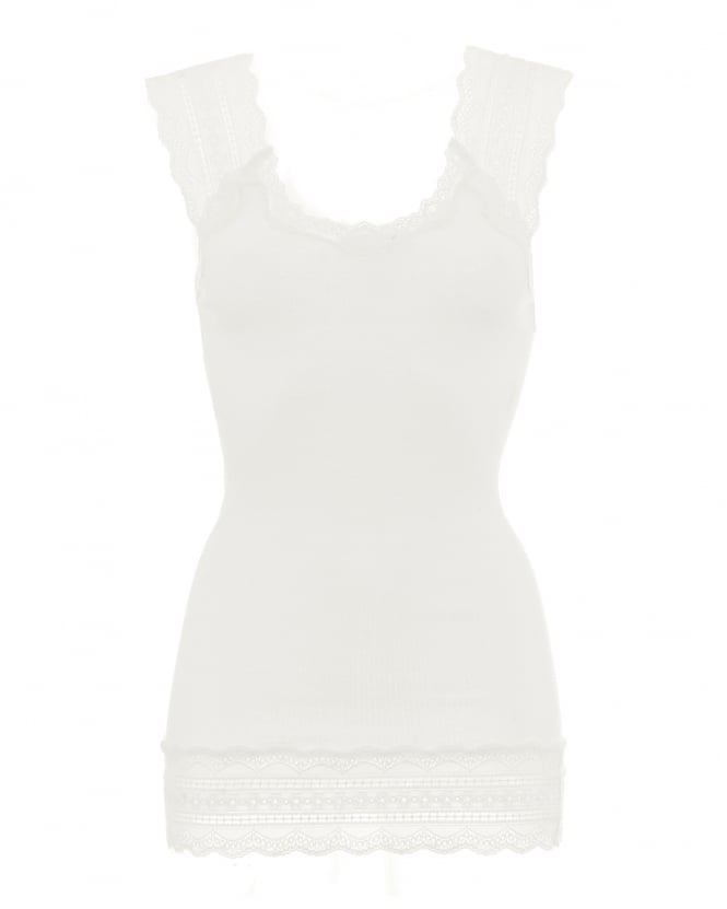 Rosemunde Womens Benta Vest, Off White Lace Silk Strap Top