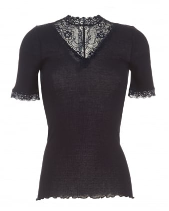 Womens Bertine Top, Navy V-Lace High Neck T-Shirt