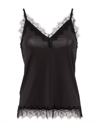 Womens Billie Cami, Adjustable Straps Contrast Lace Raven Top
