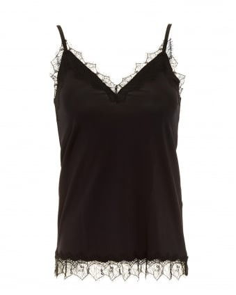 Womens Billie Cami Top, Black Strappy Vest