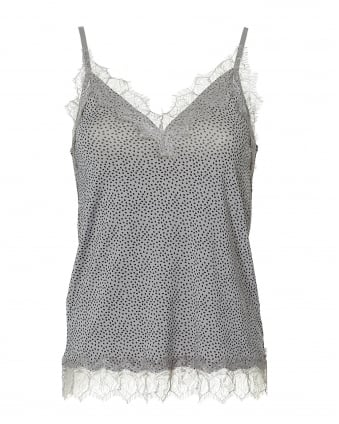 Womens Billie Cami Top, Lace Trim Grey Small Dot Top