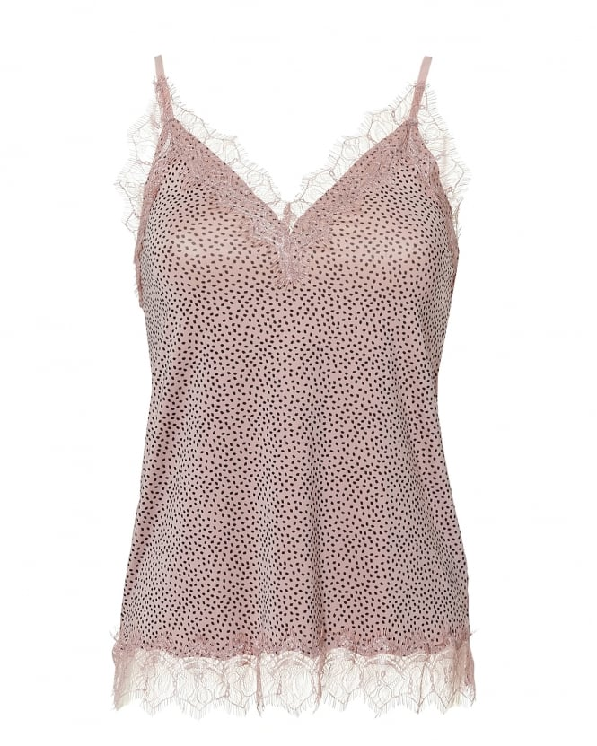 Rosemunde Womens Billie Cami Top, Lace Trim Pink Small Dot Top