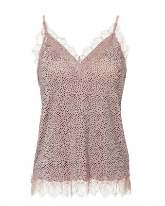 Womens Billie Cami Top, Lace Trim Pink Small Dot Top