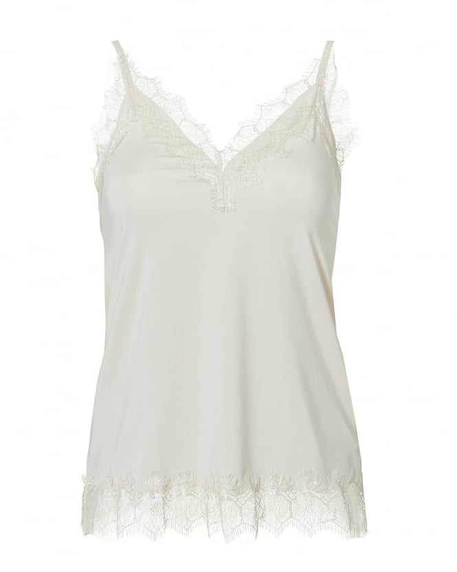 Rosemunde Womens Billie Cami Top, Lace Trim Soft Powder White Top