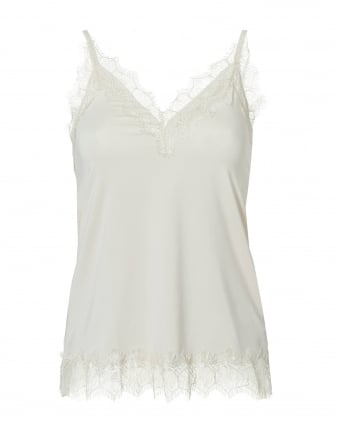 Womens Billie Cami Top, Lace Trim Soft Powder White Top
