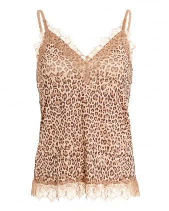 Womens Billie Top, Animal Print Lace Cami