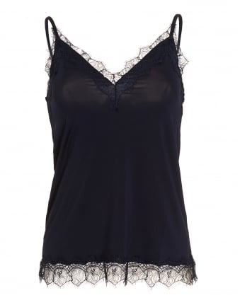 Womens Billie Top, Navy Blue Lace Cami