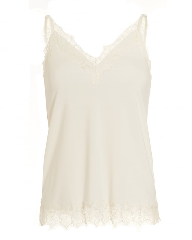 Rosemunde Womens Billie Top, White Lace Cami