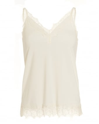 Womens Billie Top, White Lace Cami