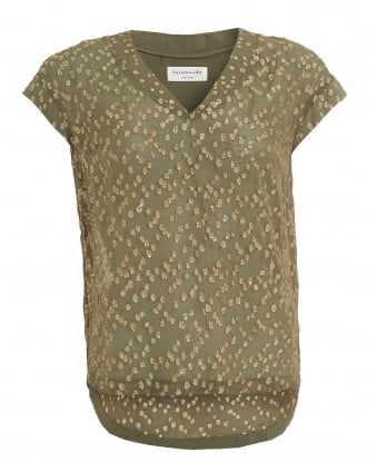 Womens Deanne Top, Olive Green Metallic Dot Blouse