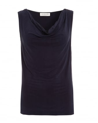 Womens Dominique Navy Blue Drape Top