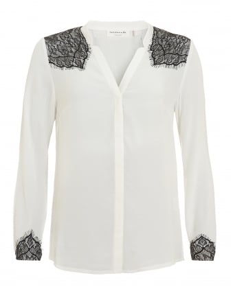 Womens Elvida Shirt, Ivory Contrast Lace Detail Blouse