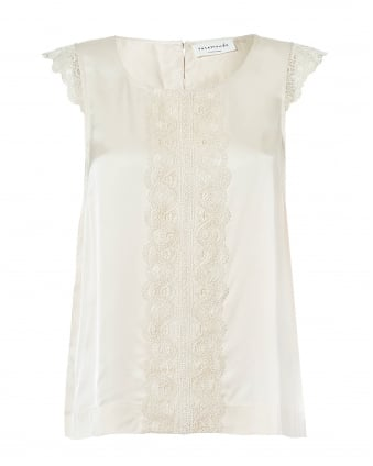Womens Geraldine Ivory Top, Sleeveless Loose Cream Lace Panel Top