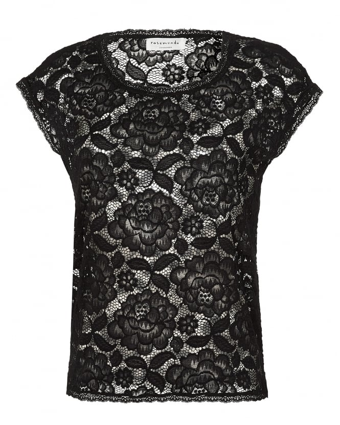 Rosemunde Womens Grazia Top Large Floral Lace Black T Shirt