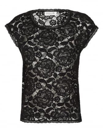 Womens Grazia Top, Large Floral Lace Black T-Shirt