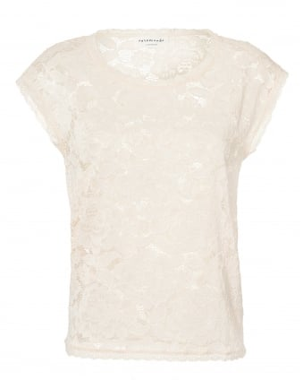 Womens Grazia Top, Large Floral Lace Ivory White T-Shirt